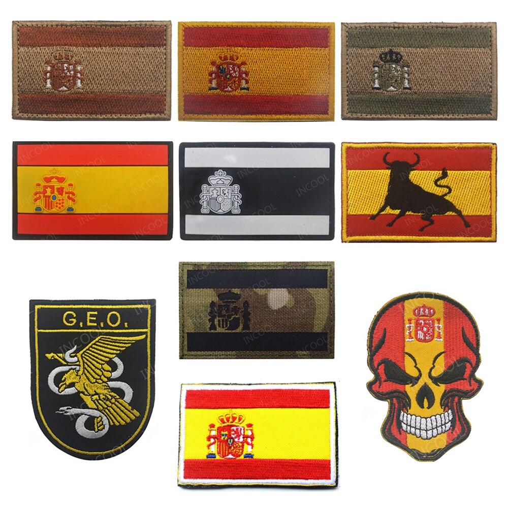 Bandeira de espanha bordado remendos tático militar moral remendo crânio emblema apliques bandeiras espanholas borracha pvc bordado emblemas