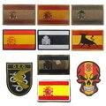 Испанский флаг вышитые патчи Тактический Военный Патч эмблема череп аппликации испанские флаги резиновые ПВХ значки для вышивки