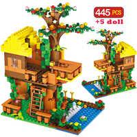 445 pçs brinquedo tijolos clássico compatível legoingly selva árvore casa blocos de construção brinquedos para crianças