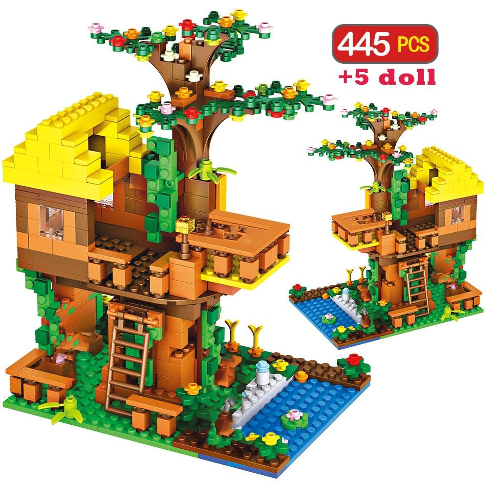 445pcs Meu Mundo Brinquedo Tijolos Clássico Compatível Legoingly Minecrafted Selva Tree House Building Blocks Brinquedos Para Crianças