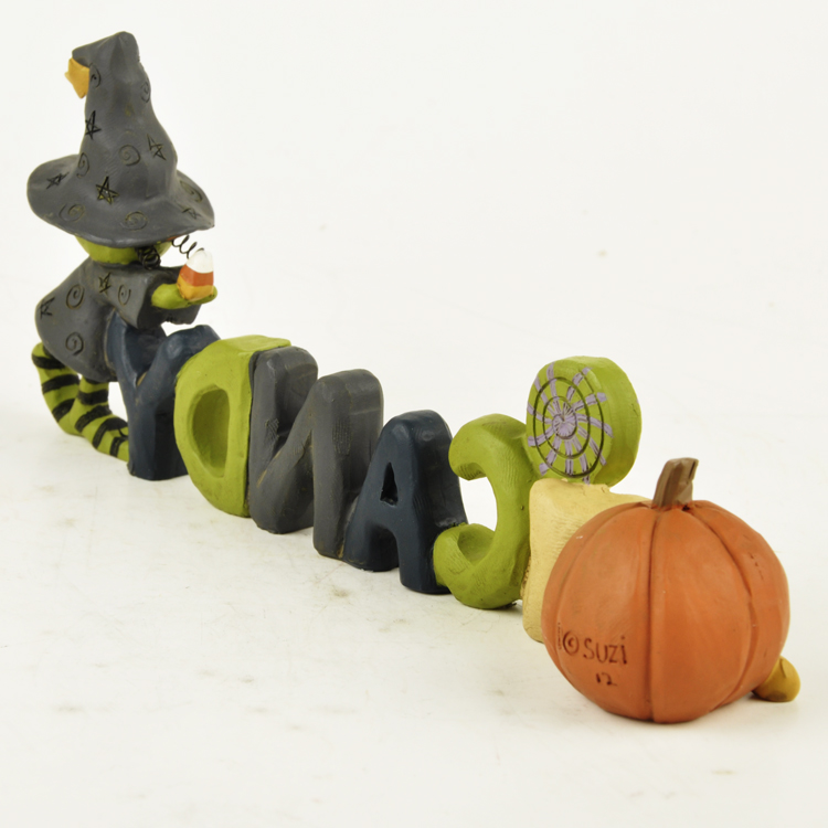 RESIN WITCH WITH PUMPKIN AND WAND DECORATION HALLOWEEN TRICK OR TREAT AUTUMN