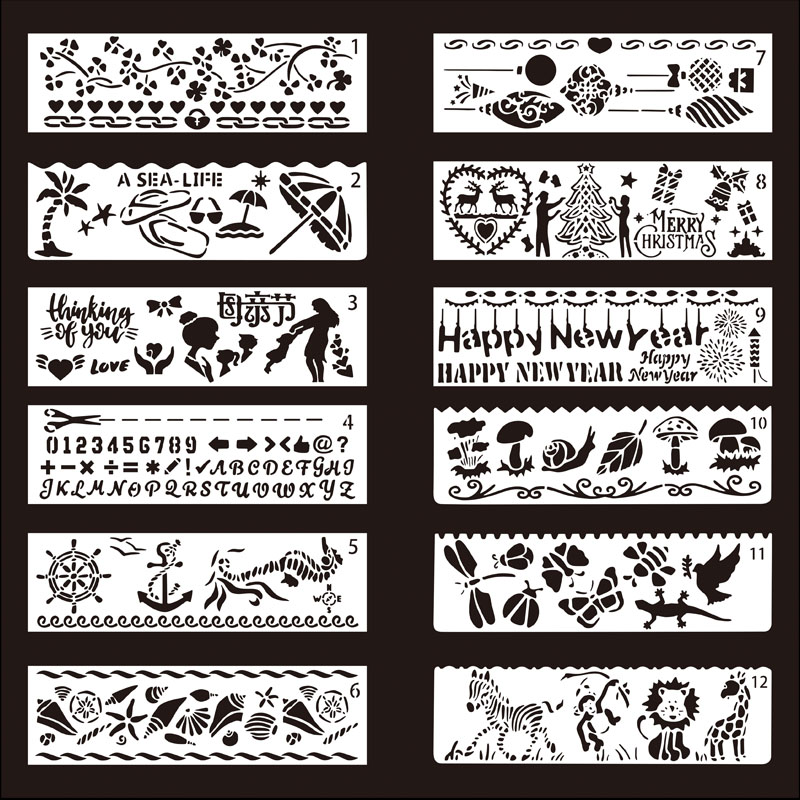 12PCS PET DIY Photo Frame Stencil Drawing Diary Book Template Painting Stencils For Theme Lace Ruler