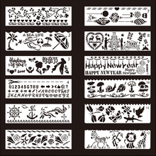 Buy 12PCS PET DIY Photo Frame Stencil Drawing diary book template painting stencils for Theme lace ruler directly from merchant!
