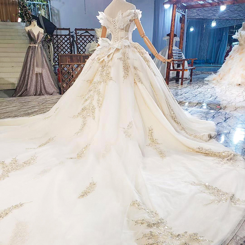 HTL1818 Sequined Beading Wedding Dress 2020 Short Sleeve Applique Ball Gowns Boat Neck Lace Up Back Off The Shoulder 4