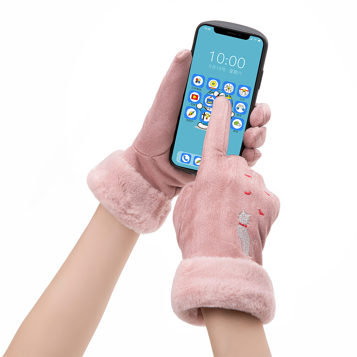Winter Women Touch Screen Gloves with Embroidery made with a Special Conductive Fabric into Finger Tips for fast Navigation of All Touch Screen Device 1