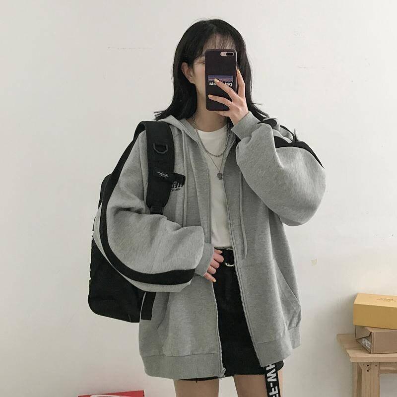 Fashion Harajuku Punk Autumn Winter Women Hooded Sweatshirt Long Sleeve Casual Loose Zipper Fleece Hoodies Tracksuit Female