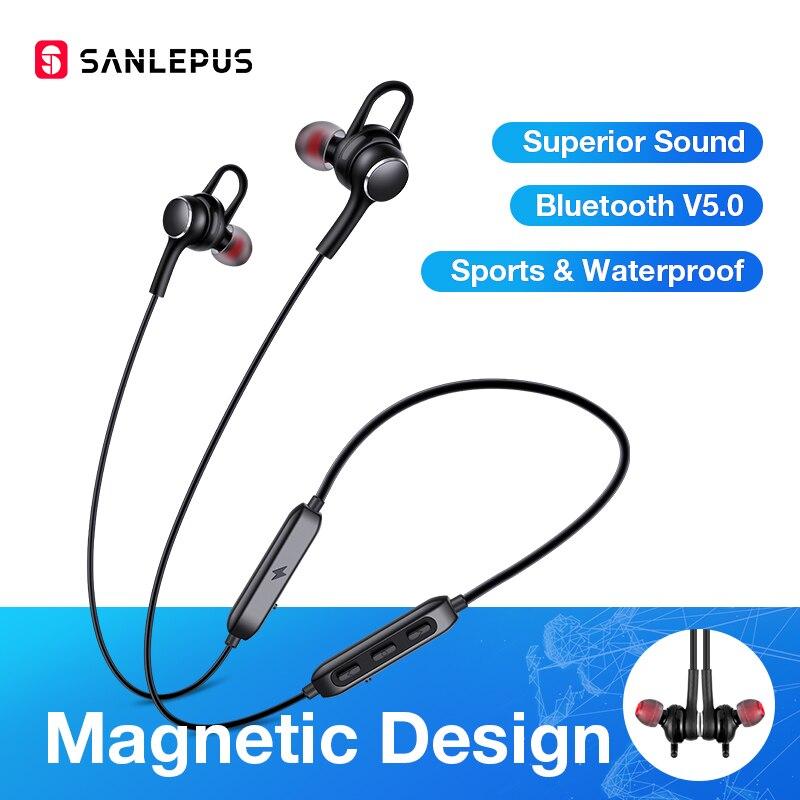 SANLEPUS Earphone Wireless Headphones Bluetooth Earphones Sport Hifi Headset Neckband Earbuds With Microphone For Xiaomi Android