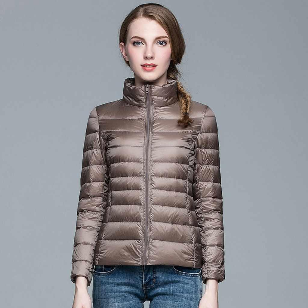 Зимний модный легкий натуральный утиный пуховик с карманами, тонкая утепленная верхняя одежда, повседневная женская теплая куртка, уличная верхняя одежда