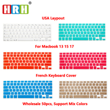HRH 50pcs AZERTY French USA Silicone Keyboard Cover Skin Protector for MacBook Pro Air 1315 17 Air 13 Retina Display Before 2016