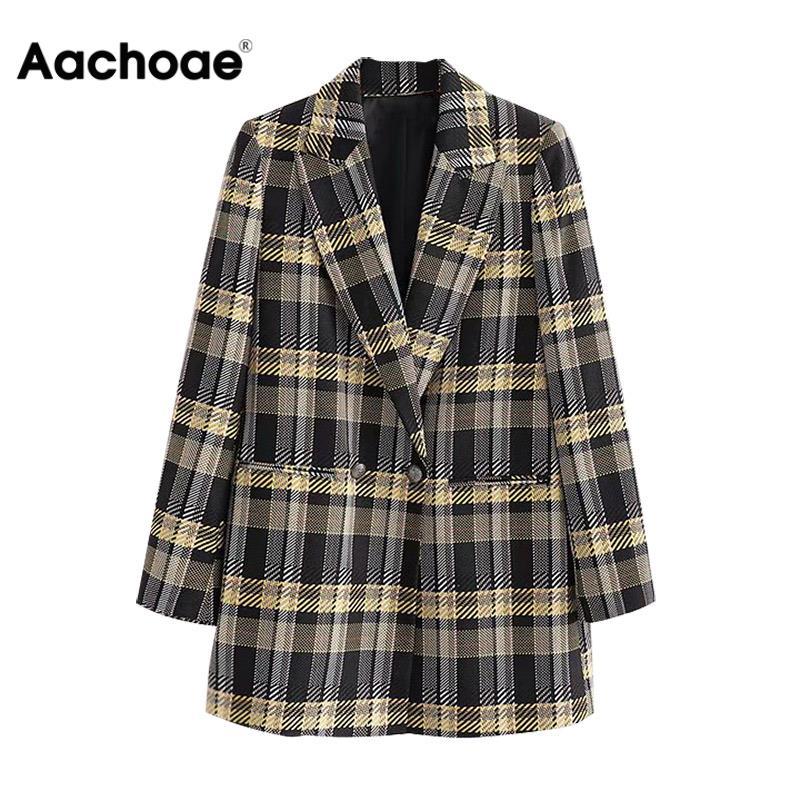 Fashion Lady OL Plaid Blazers Double Breasted Pockets Elegant Suits Women Long Sleeve Chic Jacket Winter Autumn Blazer Feminino