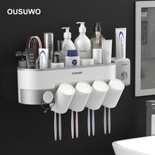 Bathroom Toiletries Storage Rack Toothbrush Holder Automatic Toothpaste Dispenser With Cup Wall Mount Accessories Set