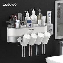Estante de almacenamiento de artículos de tocador para baño, soporte para cepillo de dientes, dispensador automático de pasta de dientes con taza, juego de accesorios de montaje en pared
