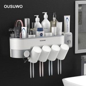 Image 1 - Estante de almacenamiento de artículos de tocador para baño, soporte para cepillo de dientes, dispensador automático de pasta de dientes con taza, juego de accesorios de montaje en pared