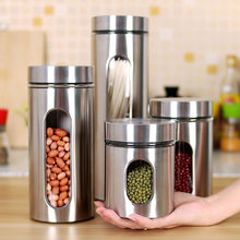 Wilona Kitchen Household Stainless Steel Storage Tank Shatter-resistant Visual Glass Seal Pot Grains Caddy Receive Food Cans