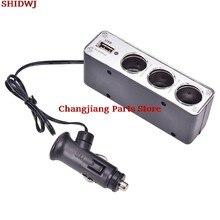 Universal 3 Forma Multi Isqueiro Soquete Splitter Carregador USB Plug DC 12V/11.5x 4.55x3.5cm 24V Adaptador com Porta USB