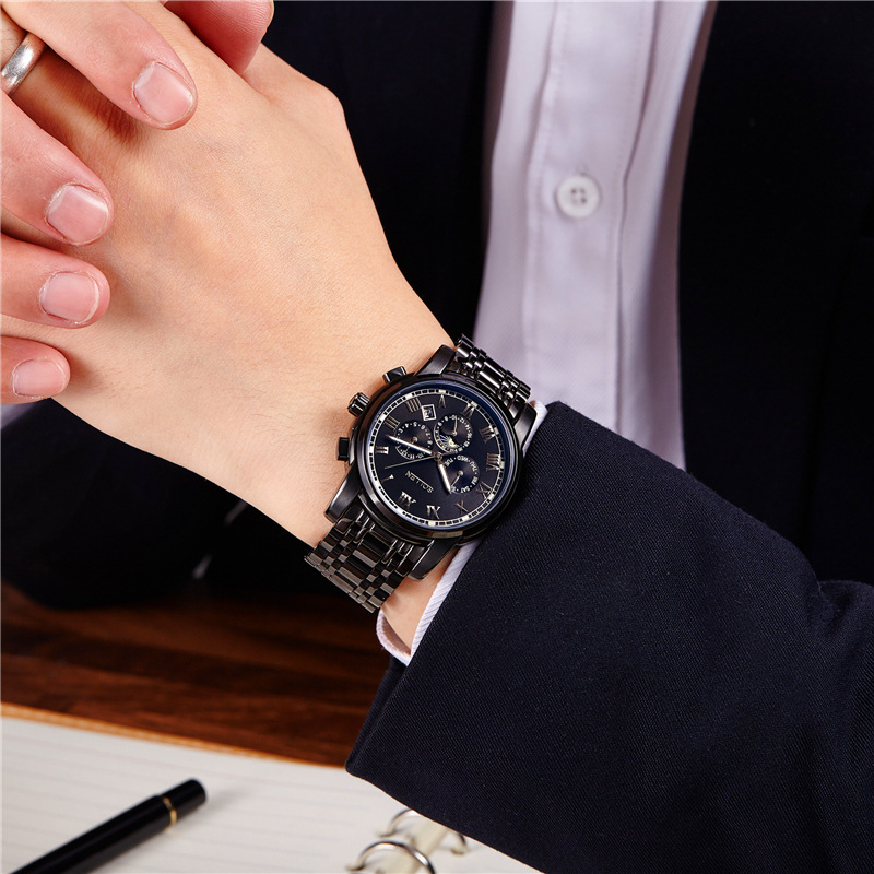 Automatic Mechanical Watches Men's Business Watch Waterproof Moon Phase Multi-function Luminous Calendar Watch SL801