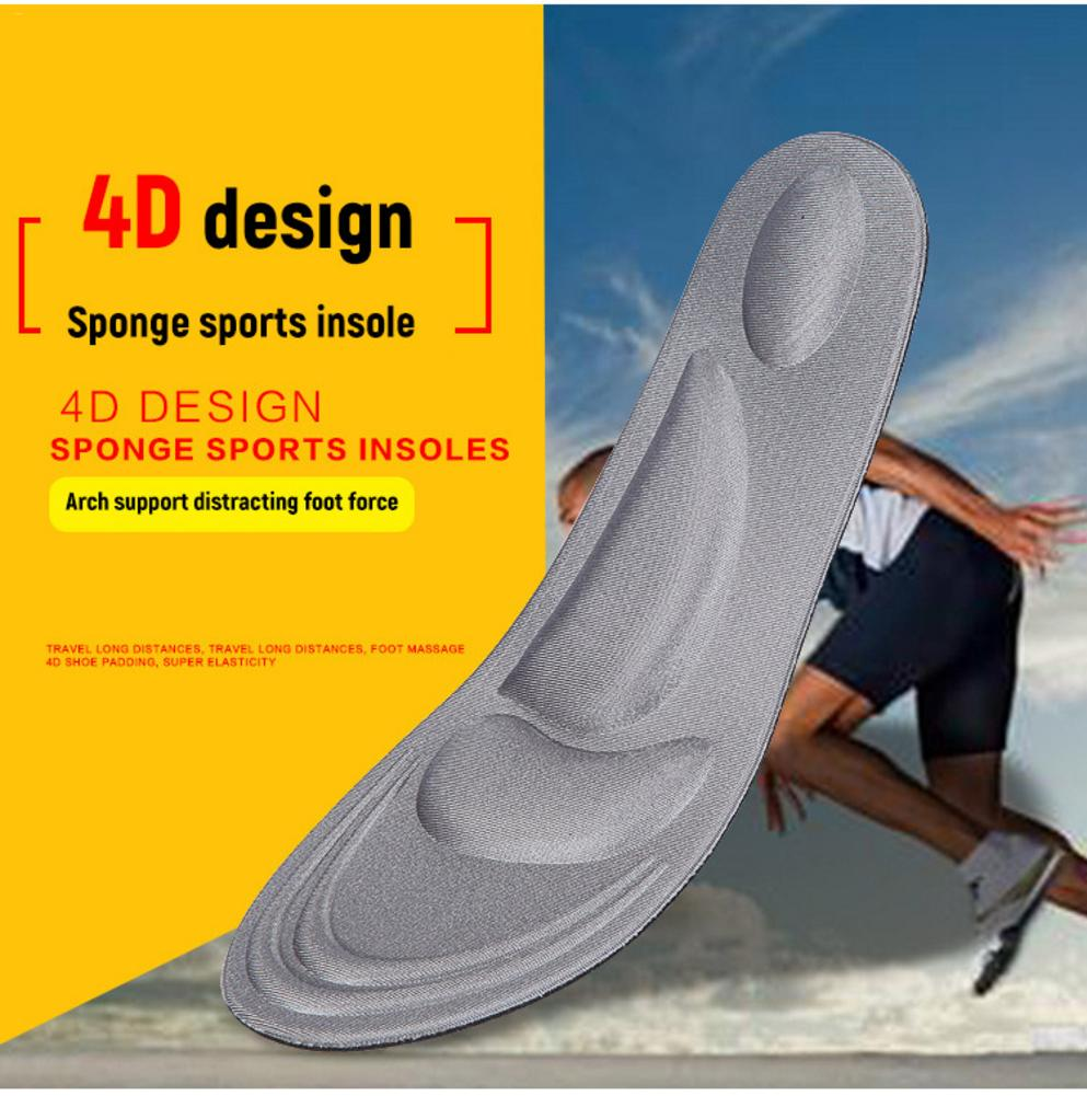 2Pair <font><b>4D</b></font> Flock Memory Foam Insoles Arch Support Orthopedic Insoles Insert For Sports <font><b>Shoes</b></font> Work Boots Walking <font><b>Shoes</b></font> For Unisex image