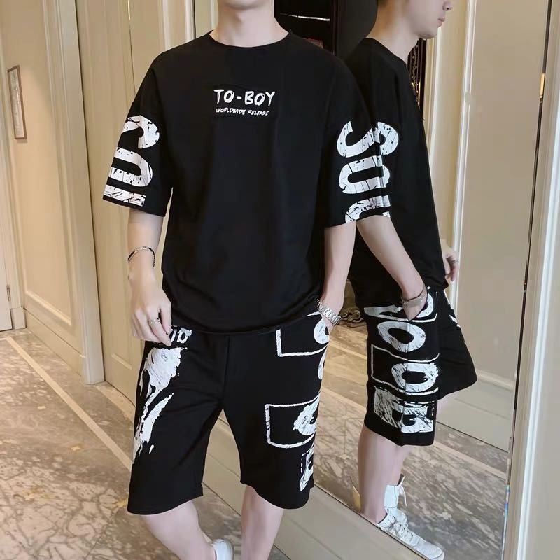 2 Piece Set Letter Short-sleeve Sweatshirt Suit Men Loose Tops Clothes Sweatpants Men's Clothing Printed Two Piece Jogger Sets