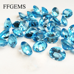 FFGems Natural Swiss blue Topaz Aquamarine Loose Gemstone Oval cut 4*6mm Diy For Silver Gold Ring earring Mounting Fine Jewelry
