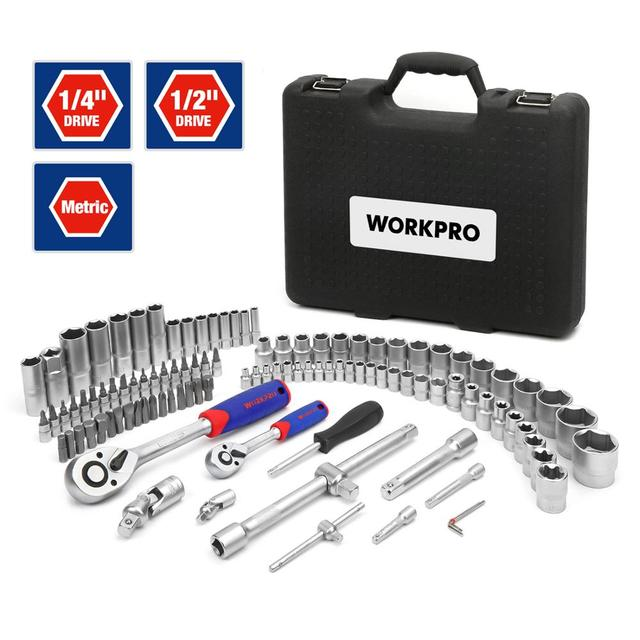 WORKPRO 108PC Tool Set for Car Repair Tools Mechanic Tool Set Matte Plating Sockets Set Ratchet Spanners Wrench 2