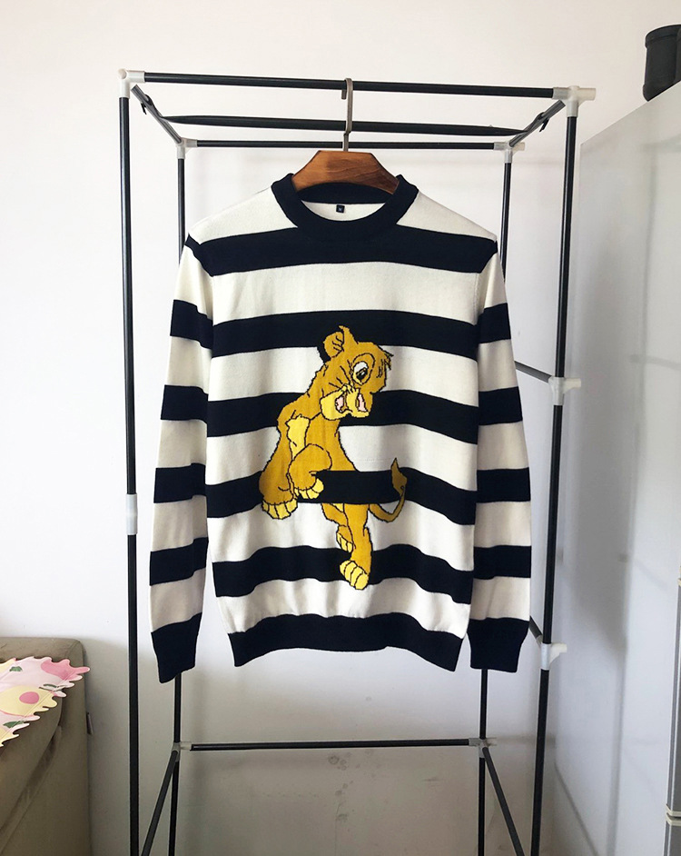 New 19 Men Luxury Gentleman Embroidered Lion King Striped Knit Casual Sweaters Pullovers Asian Plug Size High Quality Drake #M48