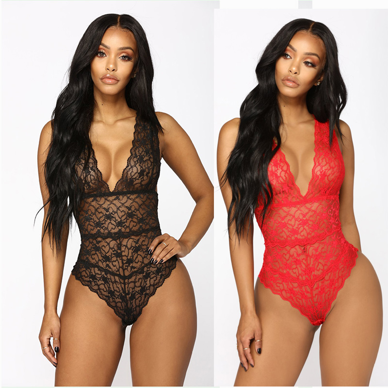 Bonjean Summer Lace Bodysuit Women Floral Embroidery Deep V Neck Sexy Bodysuit Dot One-piece Jumpsuit Overalls Rompers Femlae