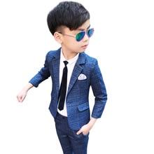 Children Suit Set Baby Boys Plaid Blazer Pants For Weddings