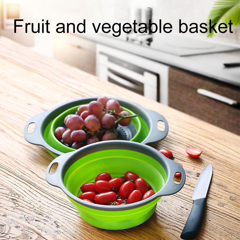 Water Filtration Tools Kitchen Durable Silicone Folding Drain Basket Retractable Fruit Vegetable Kitchen Storage Filtering Tools