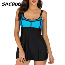 Skirt Tankini-Set Bathing-Suit Plus-Size Beach-Wear Tummy-Control Push-Up Retro Vintage