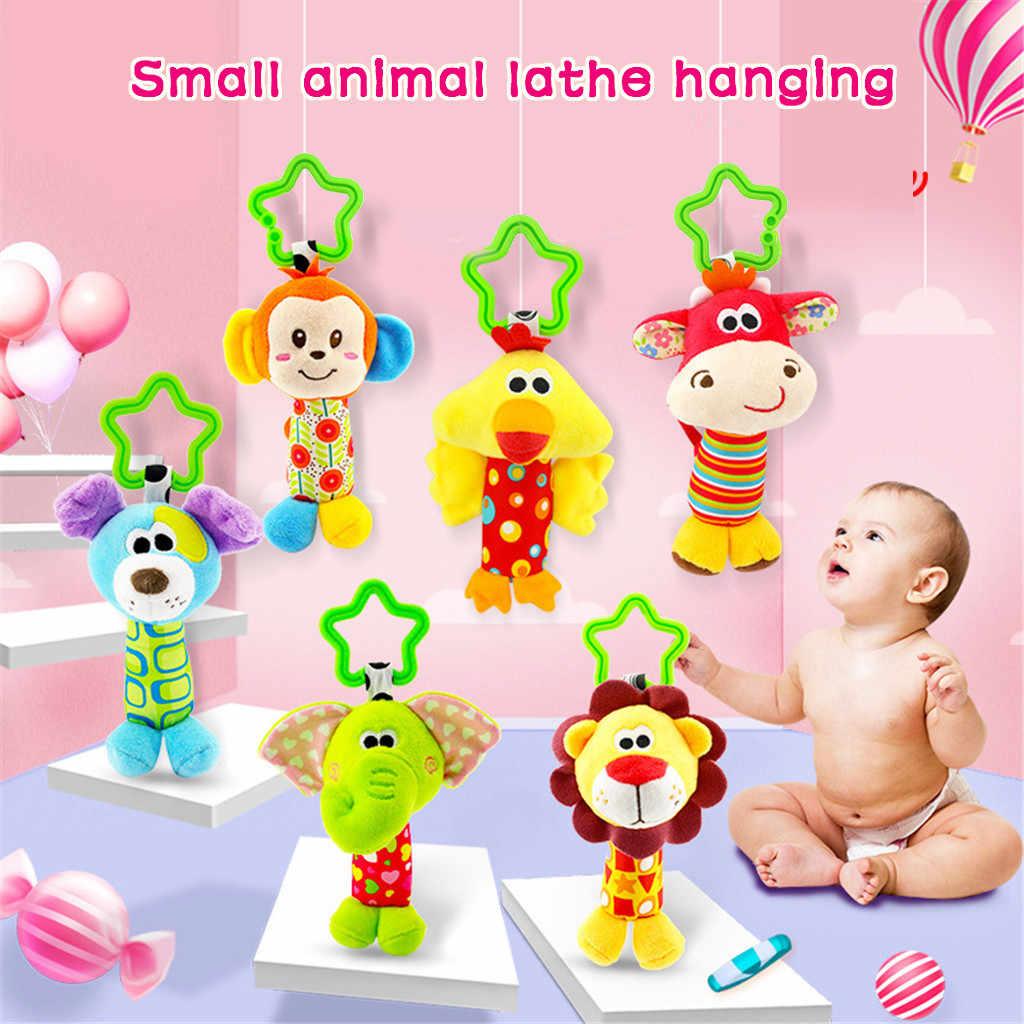 Productos para bebés sonajeros para bebés de peluche con mordedor de animales bonitos juguetes de juguete de campana colgantes muñeca sonajeros y móviles juguetes para bebés # D6