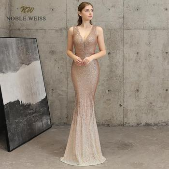 evening dresses sexy v-neck mermaid gold/dark red sequin zipper back Prom dress floor length in stock evening gown