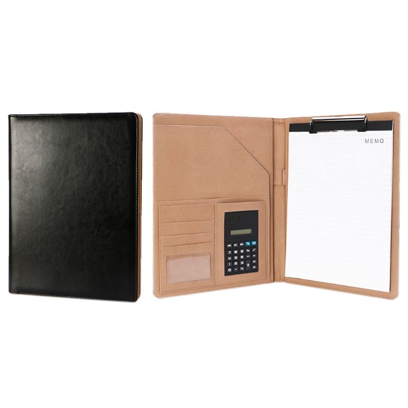 A4 Leather Conference File Folder Document Manager Organizer With Calculator DXAC