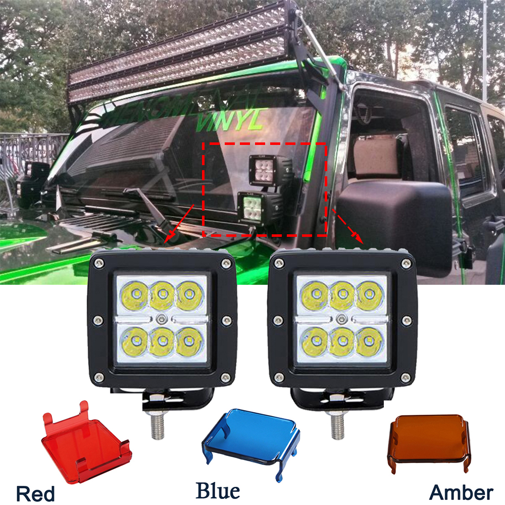 ECAHAYAKU 2pcs 3Inch 18w Led Work Light bar 12V Spot Fog for Offroad ATV Boat 4x4 dually with 2 pcs Protective Cover
