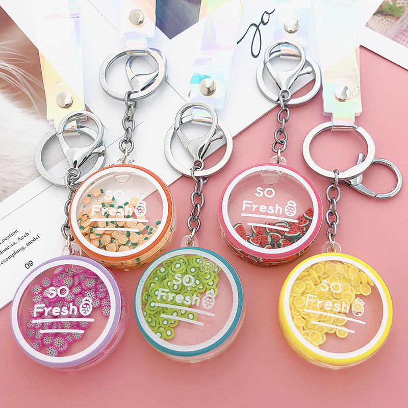 Korean Cute Moving Liquid Keychain Car Fruit Quicksand Bottle Keychains Bag Keyring Keychain Women Trinket Lovely Rope Gifts