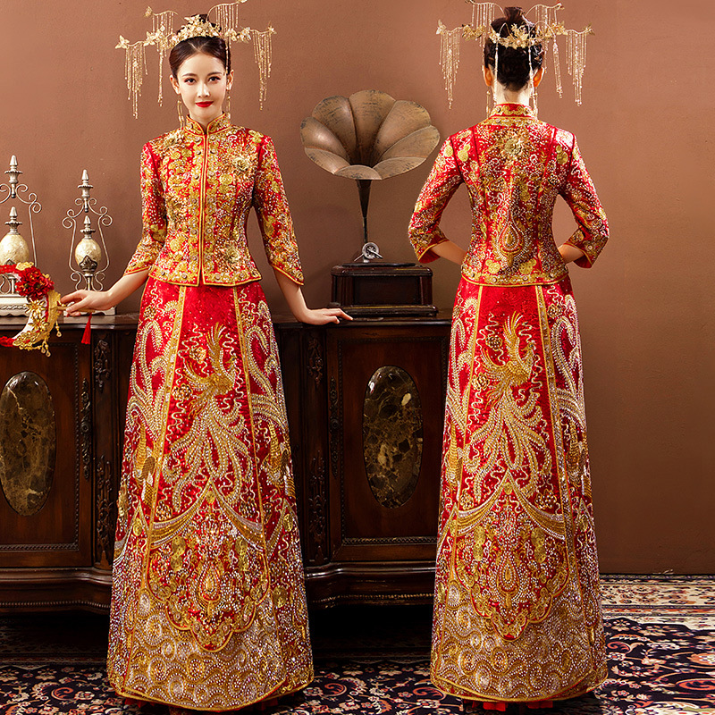 Wedding Dress 2019 New Style Silk Bride Chinese Traditional Wedding Dress Chinese-style Hot Drilling Marriage Toast Formal Dress
