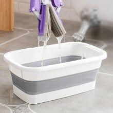 Cubo de fregona plegable de silicona con mango portátil, herramientas de limpieza del hogar, multifunción, plegable, para acampar y lavar el coche