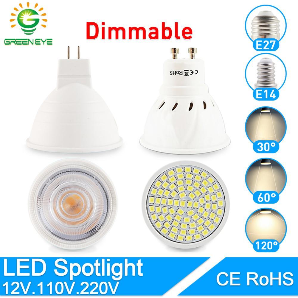 Dimmable LED Spotlight MR16 E27 GU10 E14 Led Lamp 6W 7W 8W AC12V 220V 240V Spot LED Bulb Light Lampada Bombillas Cold Warm White