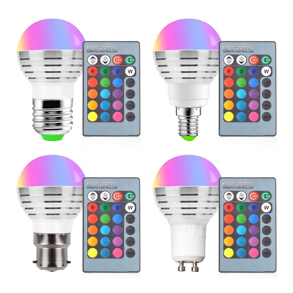RGB LED Bulb 9W Light Stage Lamp Remote Control Led Lights For Home E27 E14 B22 GU10 MR16 GU10 Memory Function Colour Chang D40