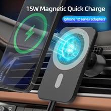 15w magnético sem fio carregador de carro montar para iphone 12mini 12 pro max magsafing carregamento rápido sem fio carregador do telefone carro titular