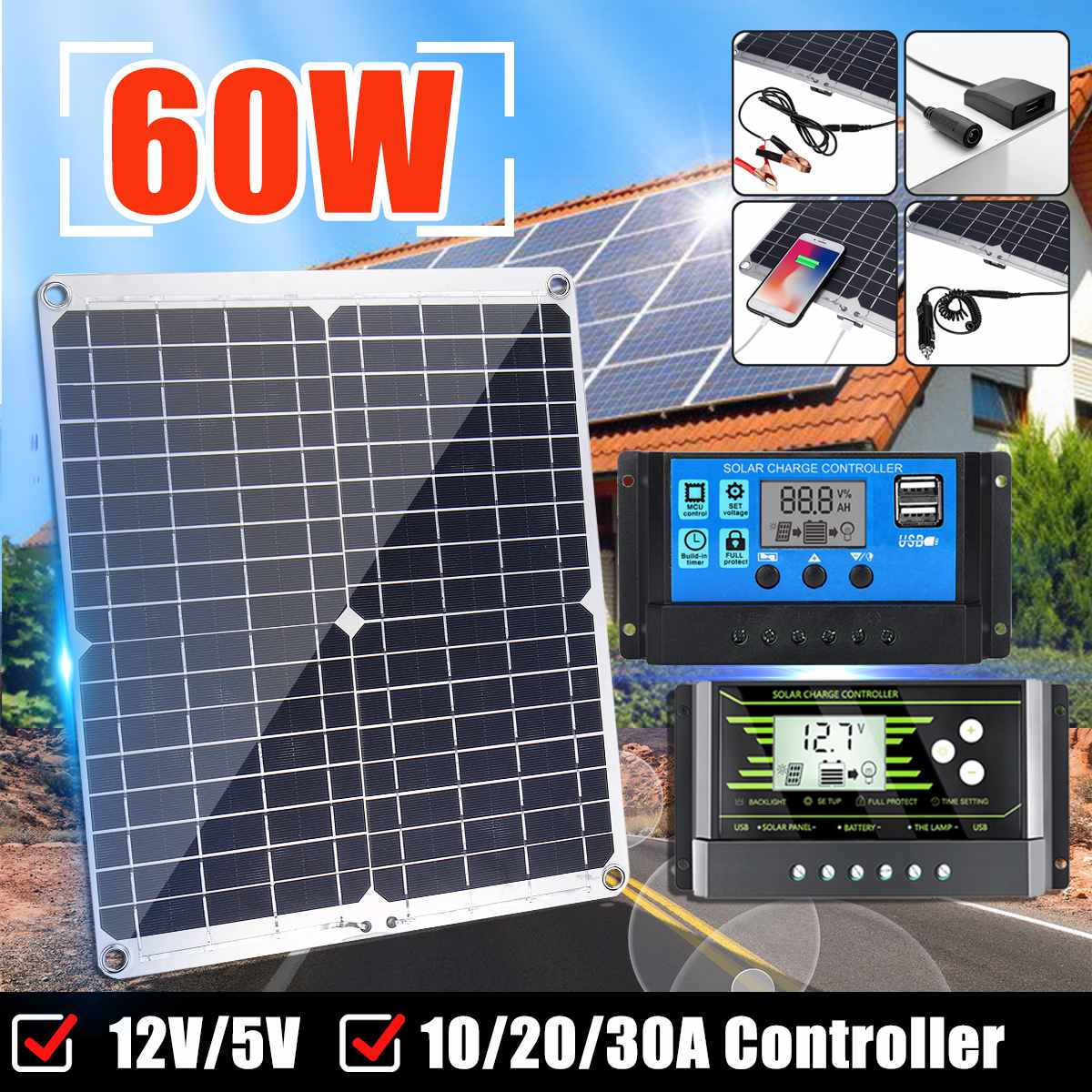 Waterproof 60W 12V/24V Dual Output USB+DC Port Solar Panel  Battery Charge With 10/20/30A Dual USB Controller Regulator