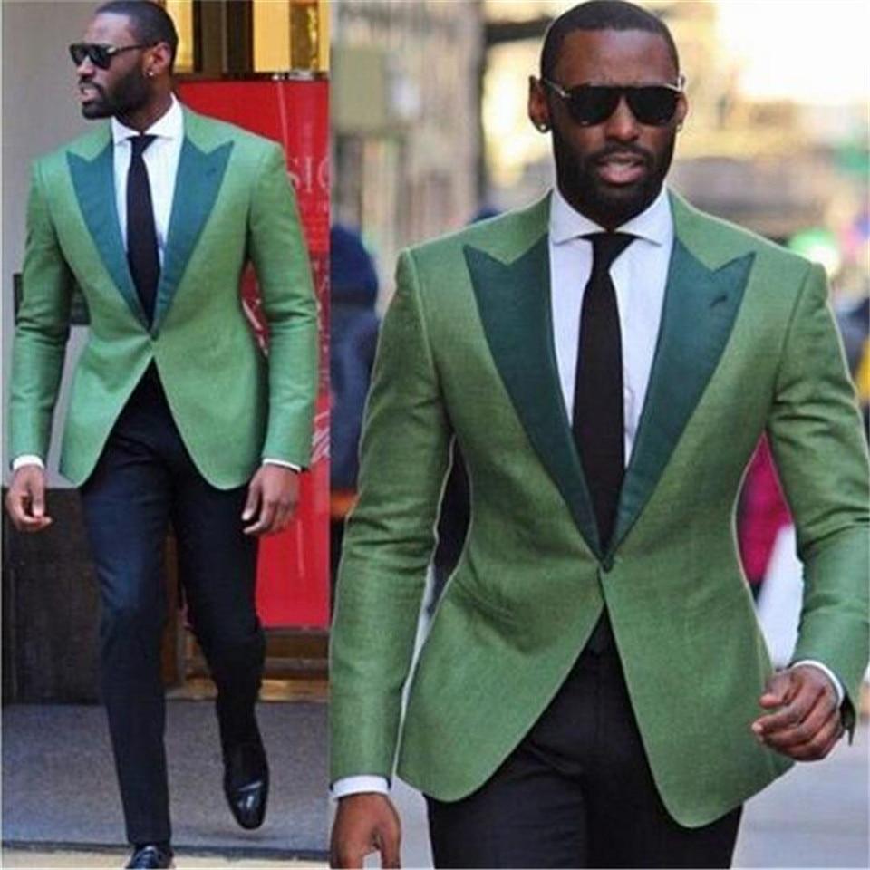 New Men's Suit Smolking Noivo Terno Slim Fit Easculino Evening Suits For Men Green Men Suit(Jacket Pant) Blazer Formal Prom