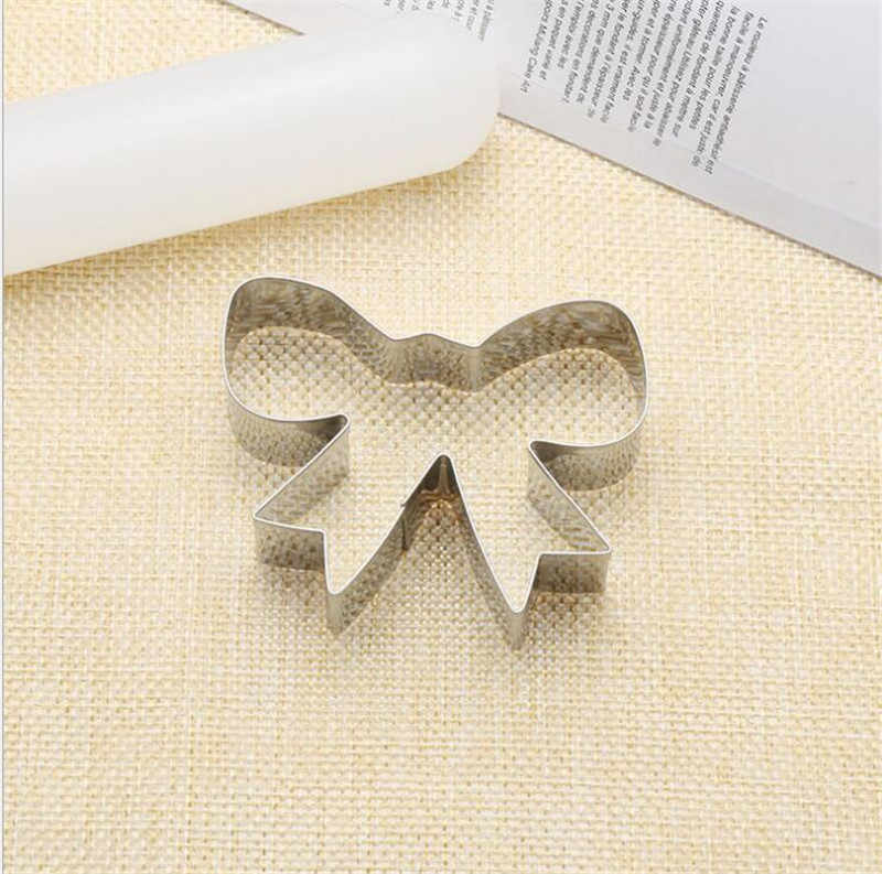 Bow Cookie Tools Cutter Mould Biscuit Press Icing Set Stamp Mold Stainless Steel Bakeware For Kitchen