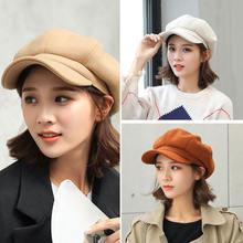 Женский берет сезон осень зима восьмиугольная шапка стильные