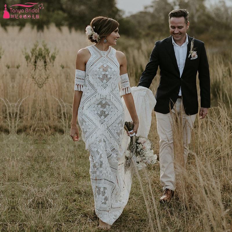 Modern Free Spirited Bridal Wedding Dresses Tasseled Trim Bohemian Vibe Vestido De Noivas Ruede Chic ZW222