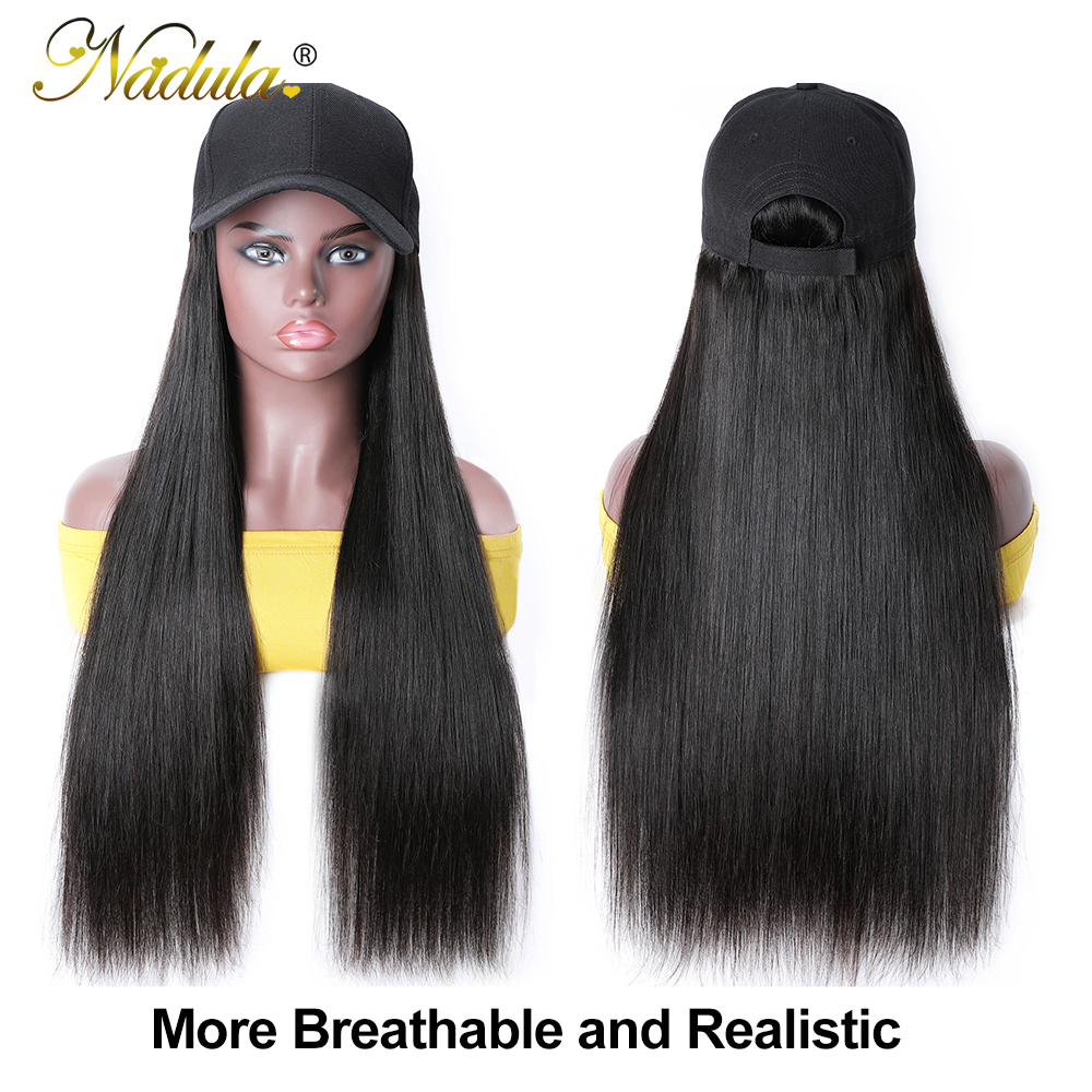 Nadula Straight Hat With Hair Wig  20inch Hat Wig Baseball Cap Wig Hat With Straight  Wigs 150% Density 2