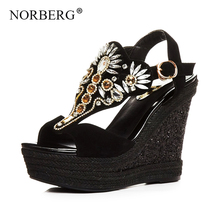 NORBERG rhinestone wedge sandals women shoes summer 2019 new high-heeled muffin thick bottom bohemian wild fairy wind