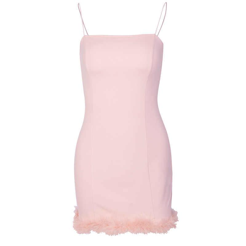 2020 femmes Sexy moulante fourrure Patch ourlet bretelles Spaghetti sangle Mini robe
