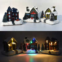 Christmas Winter Village Town Scene Ornaments LED Moving Xmas Decoration Gifts Kids Christmas Gift Party Home Decor
