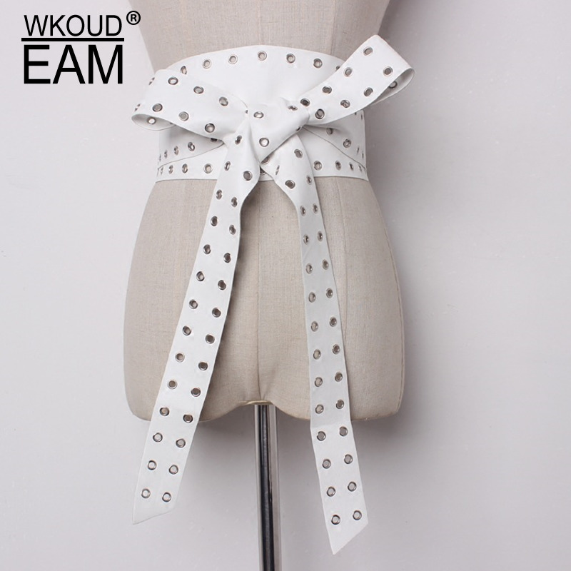 WKOUD EAM 2020 New Fashion Wild Hollow Out Leather Belt Women Bow Bandage Wide Belt Designer Brand High Quality Belt Lady PE209