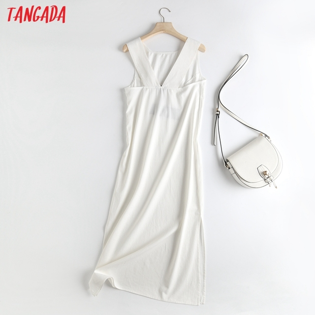 Tangada Women White Backless Midi Dress Sleeveless 2021 Fashion Lady Elegant Dresses 6D52 5